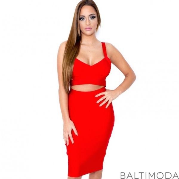 La robe bandage rouge deux-pièces est idéale si vous désirez faire ressortir votre sex-appeal.